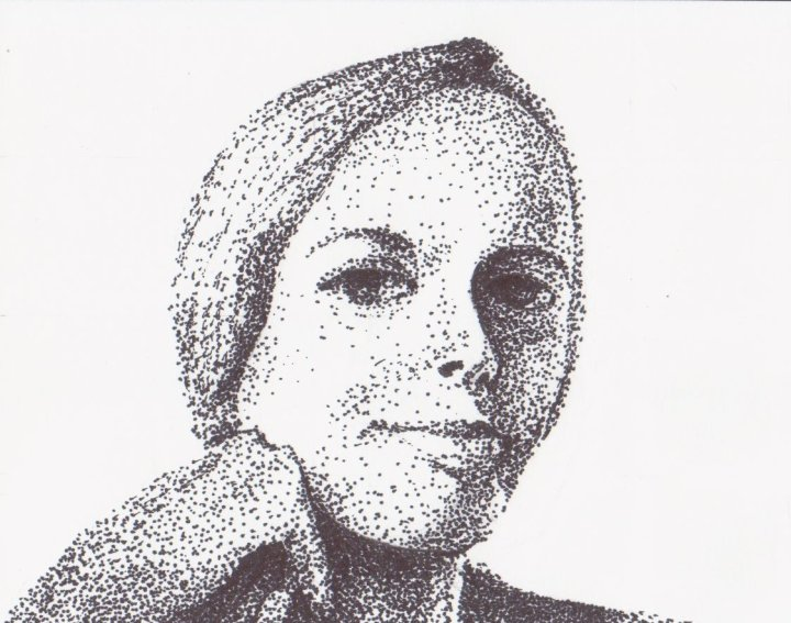 Portrait of Natalie Angier, pen on paper, 4 x 4.5 inches